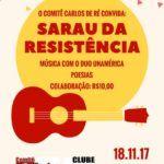 Comitê Carlos de Ré convida para uma confraternização através do tema 'Sarau das Resistências'